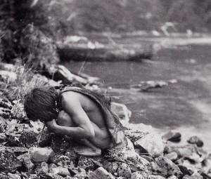 water drinken met hol botje als rietje vermoedelijk eind 19e eeuw